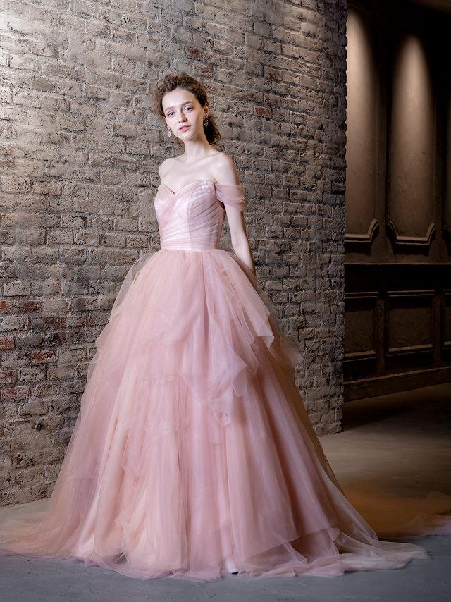 グレイッシュカラーのカラードレス ピンクのカラードレス グラデーション