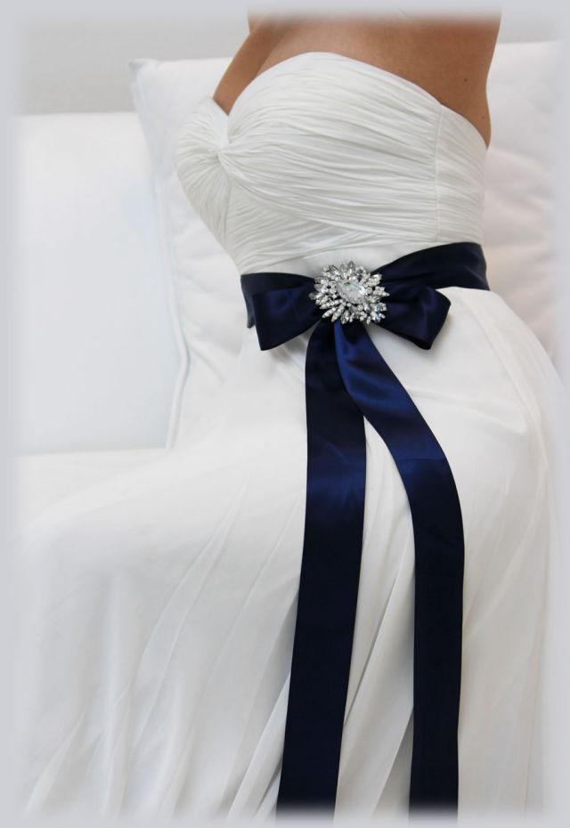 ウェディングドレス カラーサッシュベルト ネイビー ビジューベルト