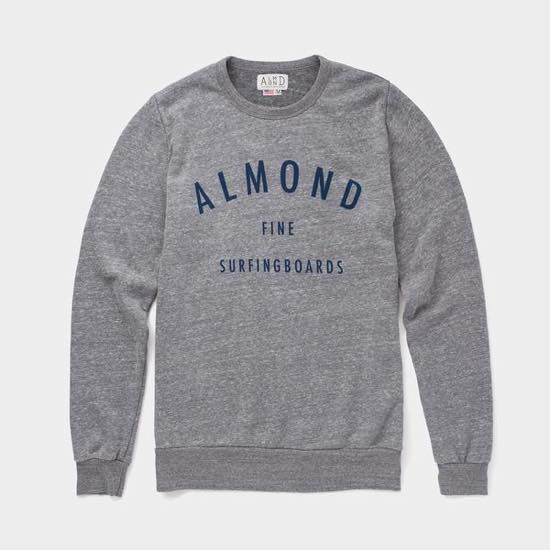 【ALMOND アーモンド】 FINE SURFING BOARDS PULLOVER HEATHER GREY クルースエット トレーナー