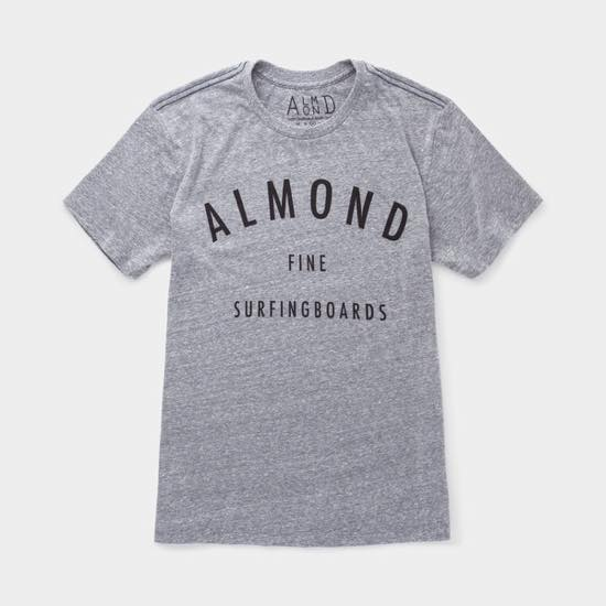 【ALMOND アーモンド】 FINE SURFING BOARDS T-SHIRT  HEATHER GREY