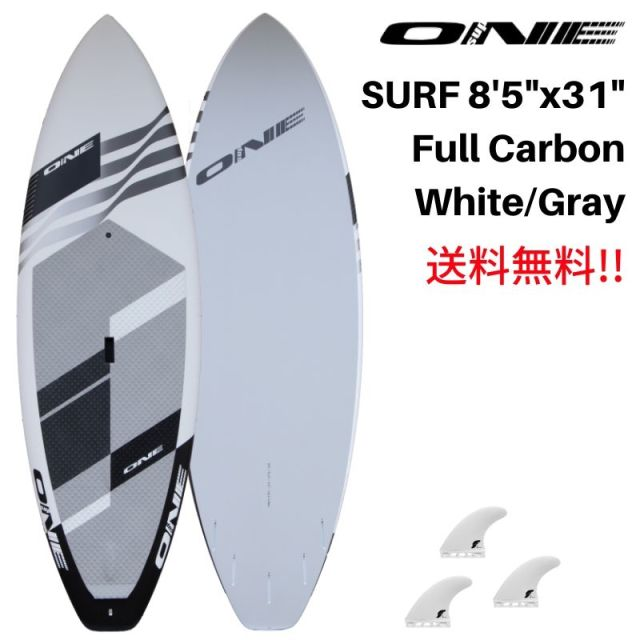 "【ONE ワン】 ONE SUP SURF 8'5"" × 31"" MAT WHITE FULL CARBON"