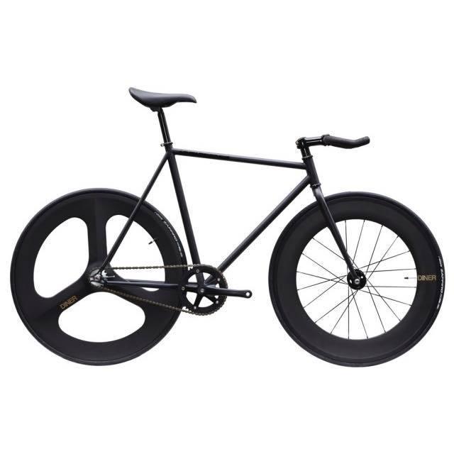 【CARTELBIKES カーテルバイク】 AVENUE LO MAT BLACK DINER FRONT 88mm REAR 3SPOKE CARBON WHEEL  カスタム完成車