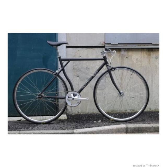 【CARTELBIKES×HOMBRE NINON】HOMBREMENTARY MATBLACK SILVER PARTS ピストバイク完成車