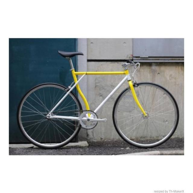 【CARTELBIKES×HOMBRE NINON】HOMBREMENTARY YELLOW&WHITE SILVER PARTS ピストバイク完成車