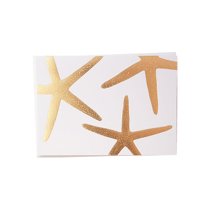 Starfish Gold Foil Note Cards