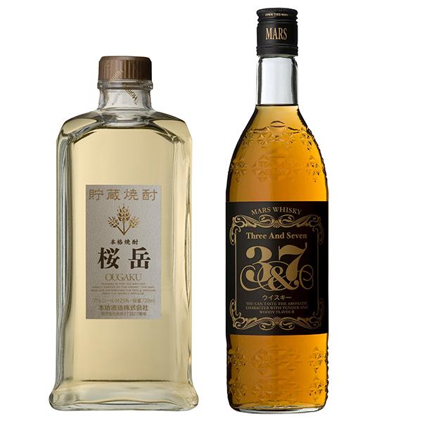 飲み比べセット グラス付き 貯蔵焼酎 桜岳 マルスウイスキー 3&7 2本 セット 25度 40度 720ml