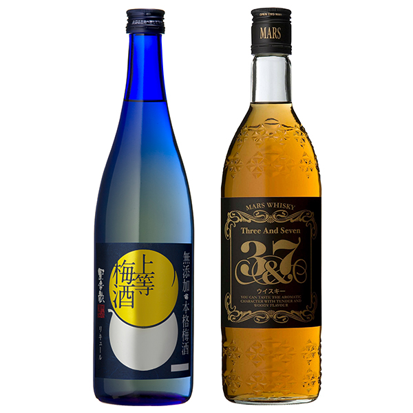 飲み比べセット グラス付き 上等梅酒 マルスウイスキー 3&7 2本 セット 14度 40度 720ml