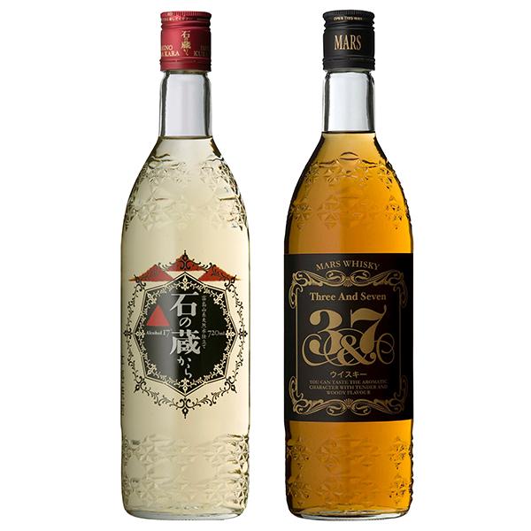 飲み比べセット グラス付き 石の蔵から マルスウイスキー 3&7 2本 セット 25度 40度 720ml