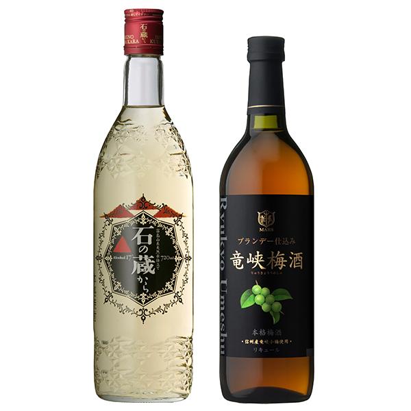 飲み比べセット グラス付き 石の蔵から 竜峡梅酒 2本 セット 25度 14度 720ml