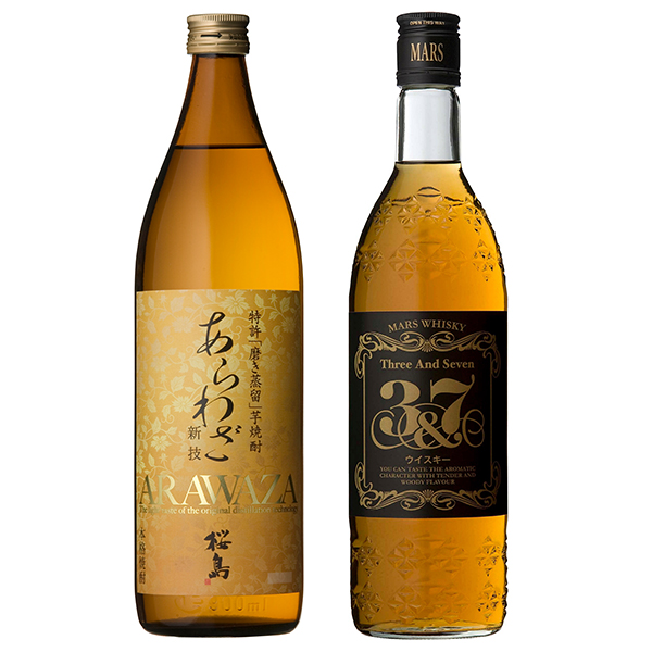 飲み比べセット グラス付き あらわざ桜島 マルスウイスキー 3&7 2本 セット 25度 40度 900ml 720ml