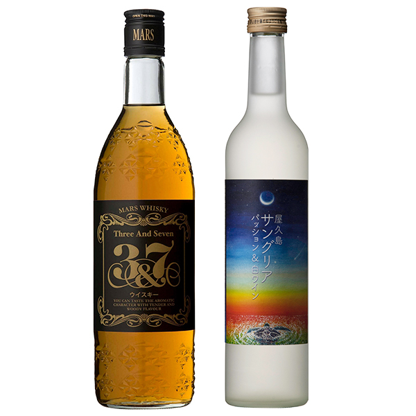 飲み比べセット グラス付き マルスウイスキー 3&7 屋久島サングリア パッション&白ワイン 2本 セット 40度 12度 720ml 500ml