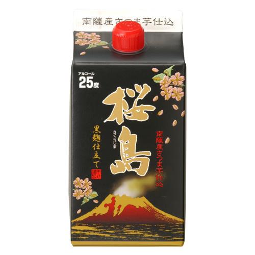 黒麹仕立て桜島 25度 900ml 紙パック