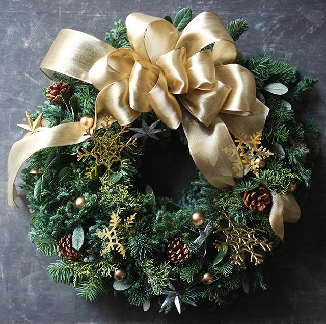 ゴールドリボン クリスマスリース