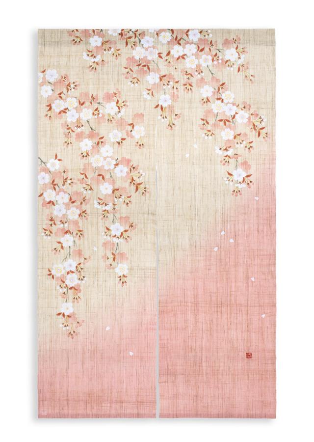 【洛柿庵】手描きのれん「山里桜」