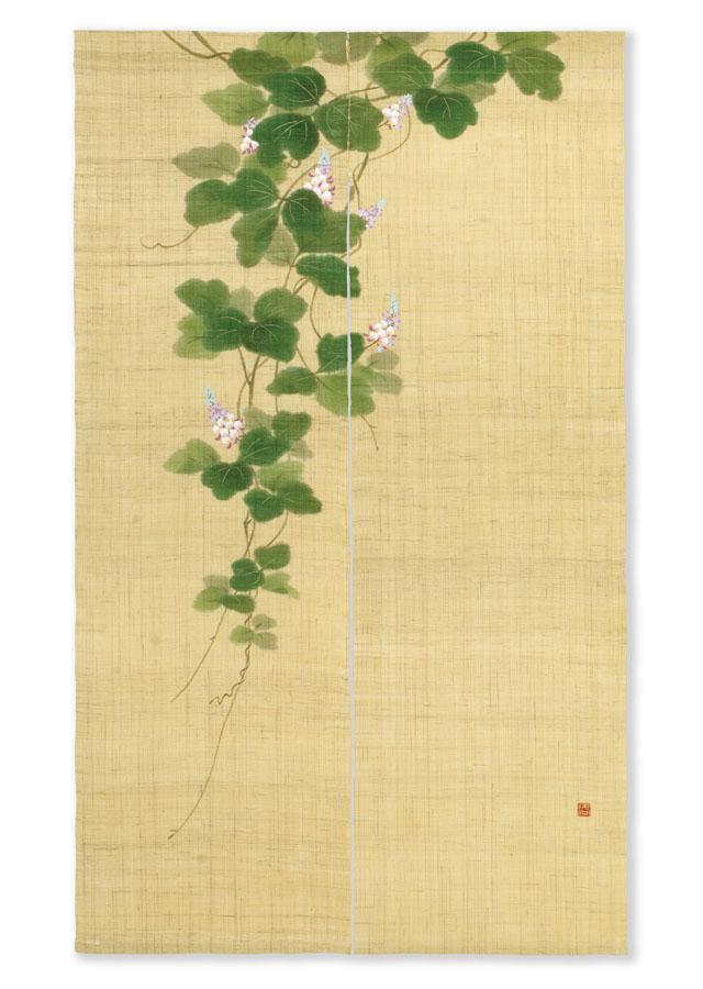 【洛柿庵】手描きのれん「くずの花」