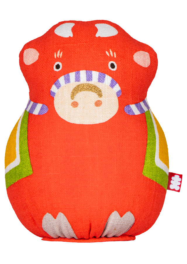 [大入DESIGN]手染め麻人形 「干支丑(赤)」