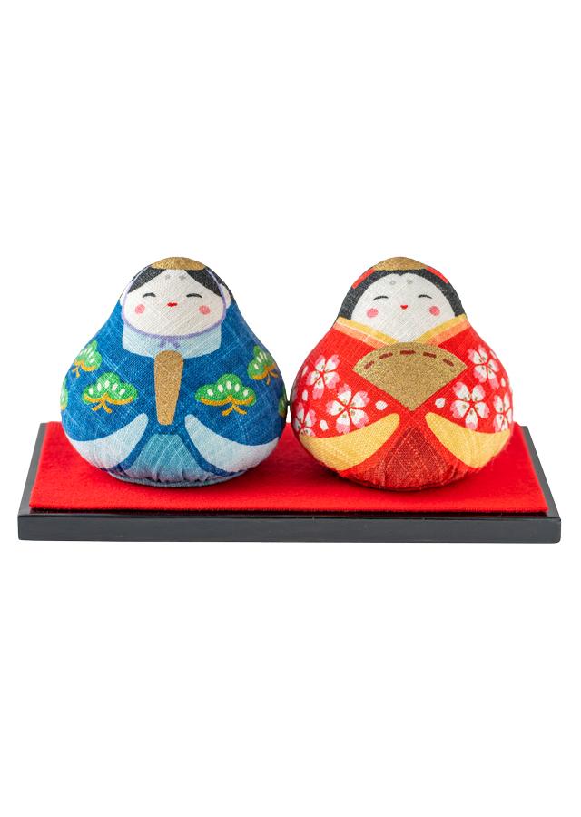 [大入DESIGN]手染め麻人形 「みやび雛」 台座付き