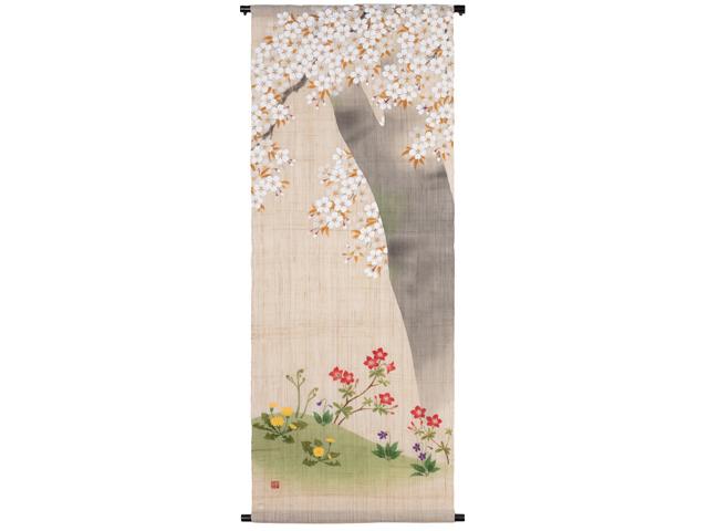 【洛粋】手描きタペストリー「さくら草花」