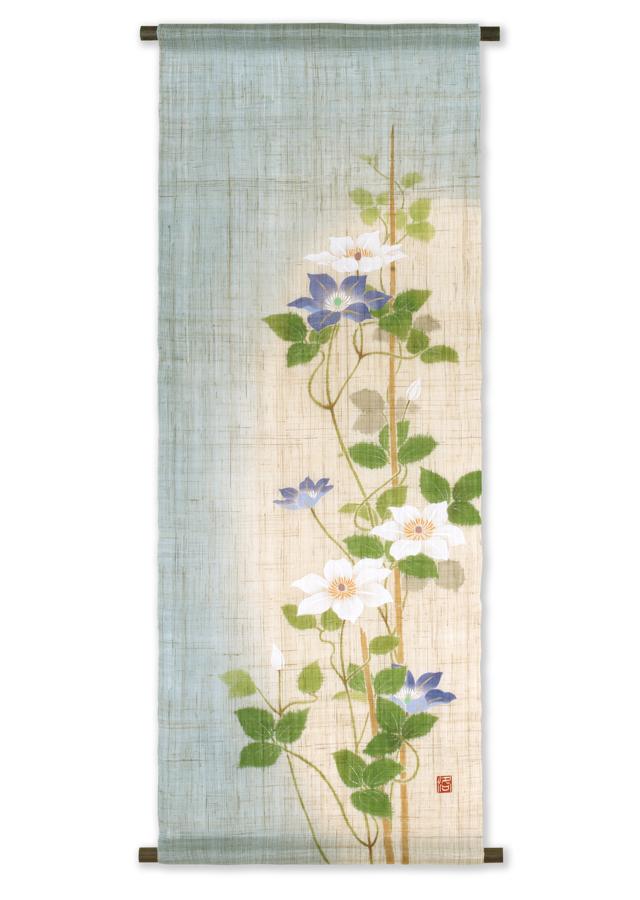 【洛柿庵】手描きタペストリー「紫白鉄仙」