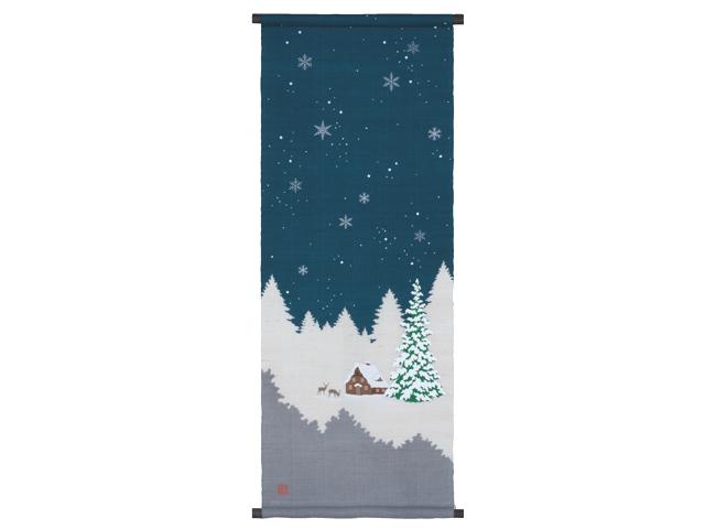 【洛柿庵】ろうけつ染めタペストリー「ホワイトクリスマス」