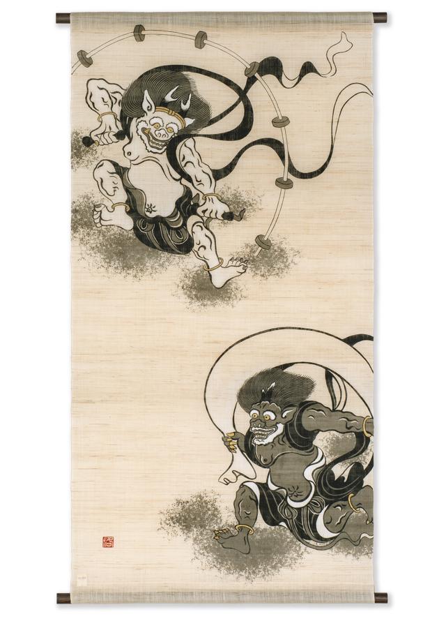【洛柿庵】タペストリー「風神雷神」
