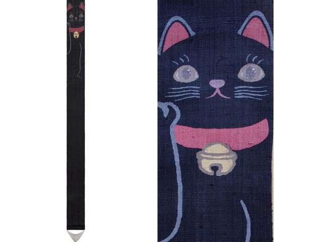 【洛柿庵】細タペストリー「黒猫」