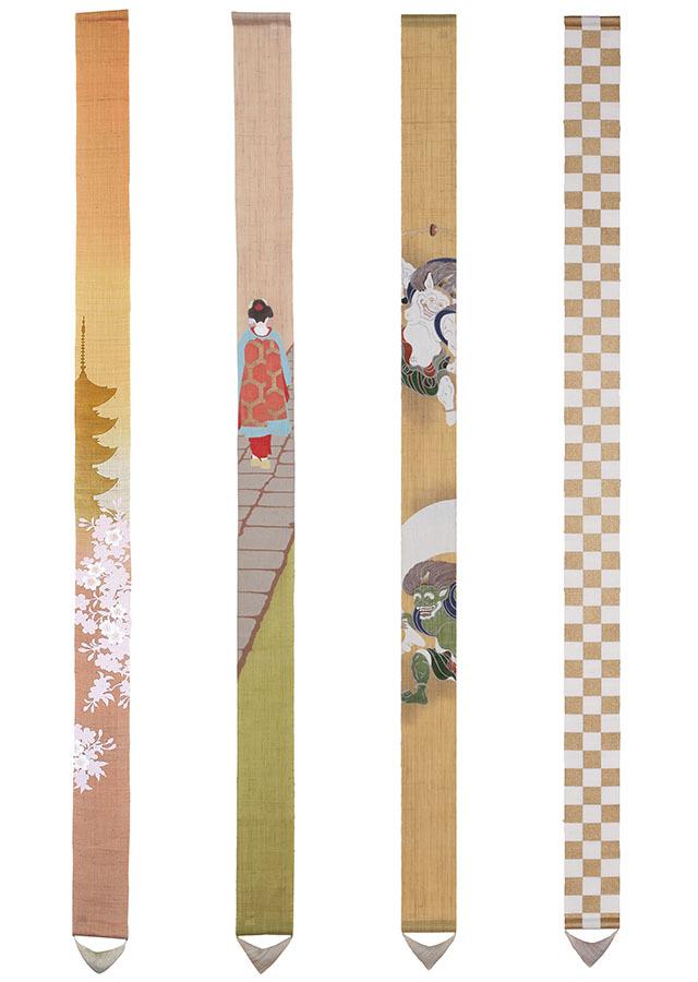 【祇園祭期間】「京都ご当地細タペストリー4本セットA」 栞プレゼント付