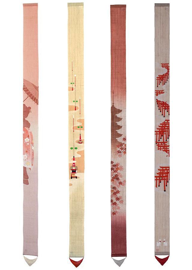 【祇園祭期間】「京都ご当地細タペストリー4本セットB」 栞プレゼント付
