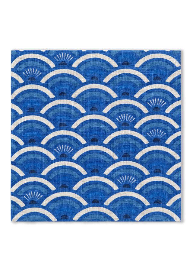 麻のファブリックパネル こごい青海波