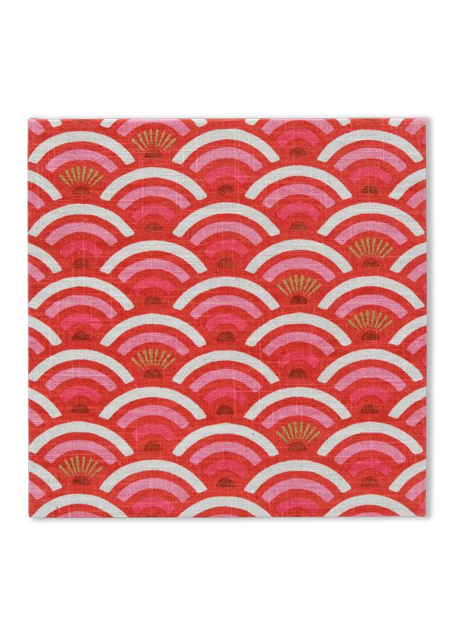 麻のファブリックパネル ひごい青海波