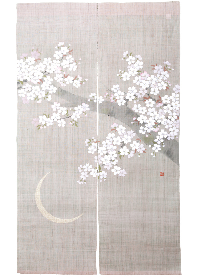 のれん「月夜の桜」