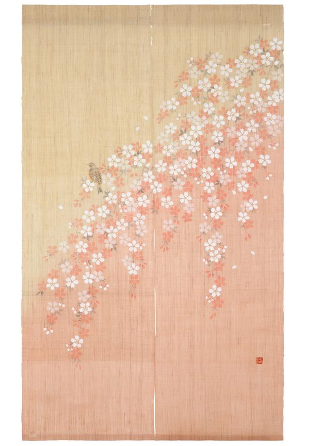 のれん「桜に四十雀」