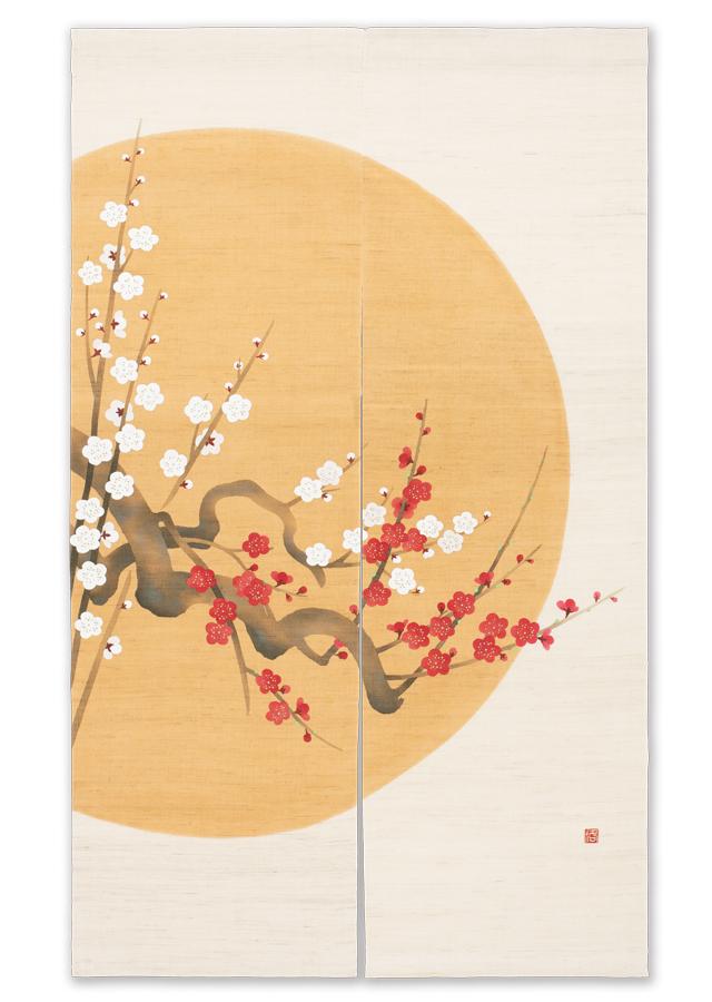 手描きのれん「円月の梅」