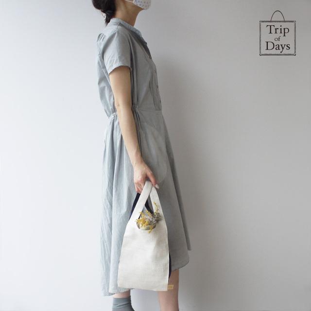 麻のワンマイルバッグ S 白×紺