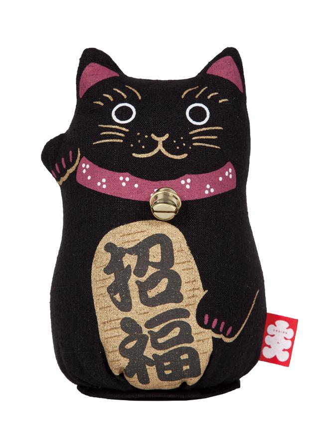 麻人形「黒招き猫M」