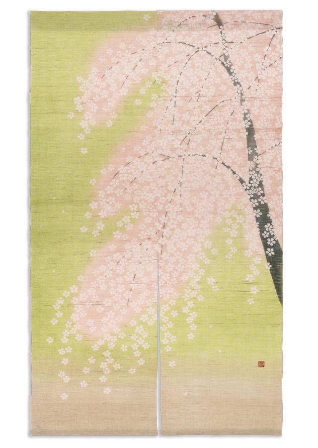洛粋ろうけつ染めのれん「咲桜」