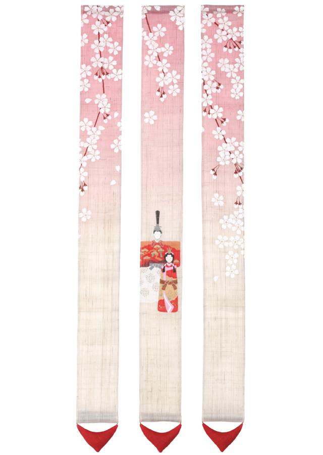 細タペストリー「三連 桜花雛」
