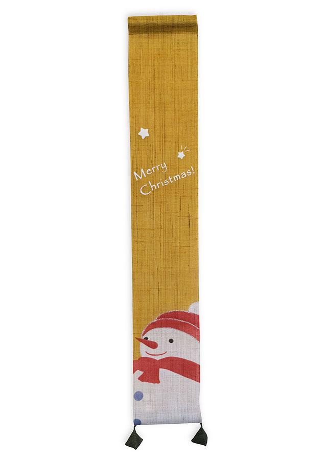 【洛柿庵店舗限定】豆タペストリー「スノーマンのMerryChristmas」