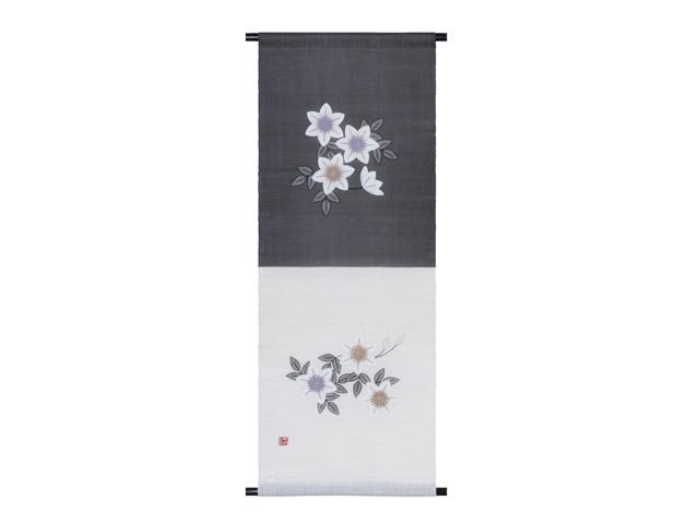 【洛柿庵】手描きタペストリー「白鉄線 軸」