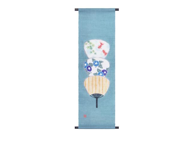 【洛柿庵】手描きタペストリー「飾り団扇」