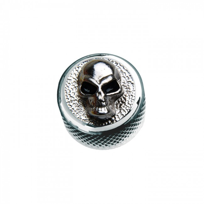 Q-Parts Dome Knob Angry Skull -Metal in Chrome