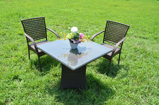 ガーデンファニチャー ラタン調 テーブル チェア 3点セット set360【送料無料】