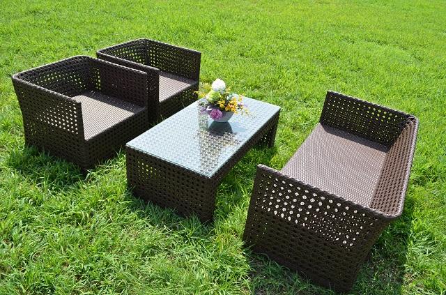 ガーデンファニチャー ラタン調 テーブル ソファ 4点セット set366【送料無料】