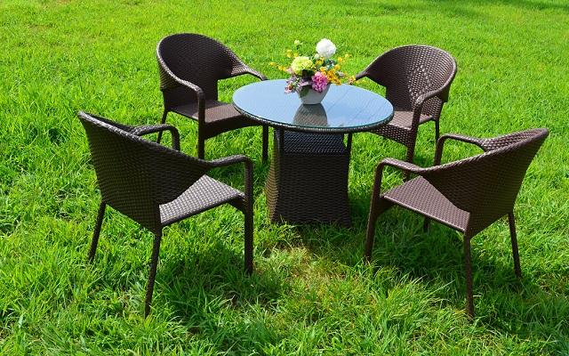 ガーデンファニチャー ラタン調 テーブル チェア 5点セット set370【送料無料】
