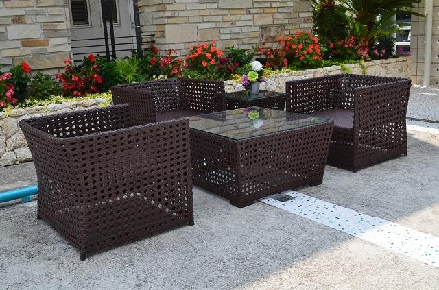 ガーデンファニチャー ラタン調 テーブル ソファ 5点セット set374【送料無料】