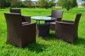 ガーデンファニチャー ラタン調 テーブル チェア 5点セット set371【送料無料】