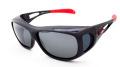 AXE(アックス) SG-612P シャイニーブラック/偏光スモーク×シルバーミラー メガネを掛けたまま装着可能なオーバーサングラス グラスコード付き
