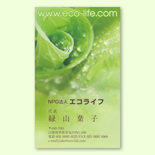 【名刺】エコグリーン(片面) タテ型100枚