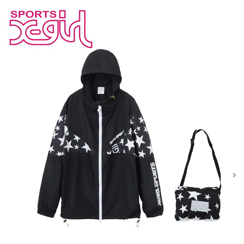 X-girl Sports(エックスガールスポーツ) PERFORMANCE JACKET STAR & LOGO 05186502  ナイロンジャケット コンパクト レディース