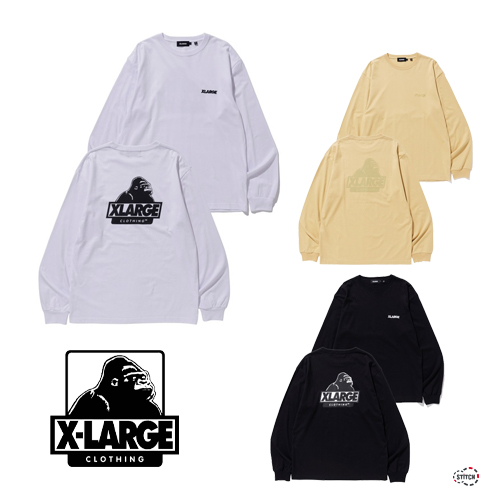 セール XLARGE エクストララージ L/S TEE BACKSIDE SLANTED OG  101203011017 バックプリント OGロゴ  長袖Tシャツ メンズ 正規取扱店 SALE